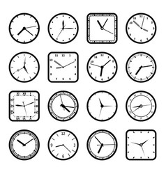 digital wall clock faces time icons set vector image
