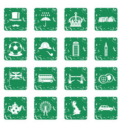 great britain icons set grunge vector image vector image