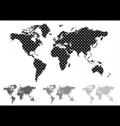 halftone world map vector image vector image