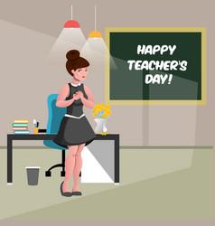 Happy teacher s day with teacher vector