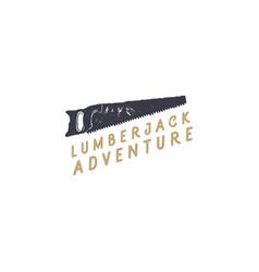lumberjack saw logo design typography elementsm vector image