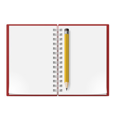 realistic notebook with yellow pencil on white vector image
