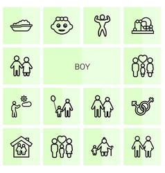 14 boy icons vector