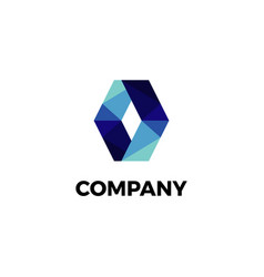 abstract blue geometry logo symbol template vector image
