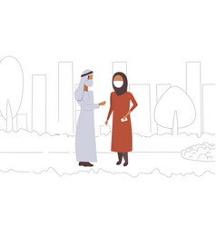 arab couple wearing face mask plant pipe dirty vector image