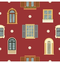 Architectural Seamless Pattern with Vintage Window vector