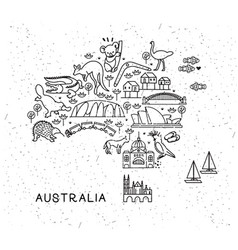 australia travel line icons map travel poster vector image
