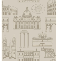Background with Rome landmarks and symbols vector