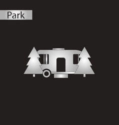 black and white style icon trailer in forest vector image