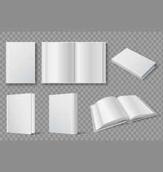 book mockup blank white closed and open books vector image