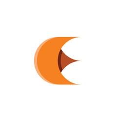 brown letter e logo icon symbol design vector image