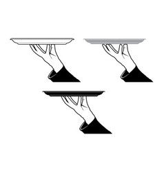 butler hand holding tray vector image