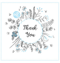 card with medow herbs and text thank you vector image