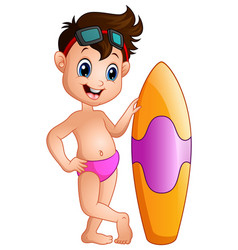 cartoon boy with a surfboard vector image
