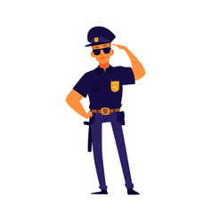 cartoon policeman standing in salute pose police vector image