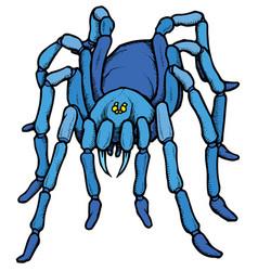 Cartoon stylized blue tarantula spider vector