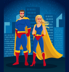 Cartoon super heroes characters poster vector