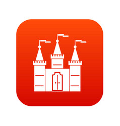Castle icon digital red vector