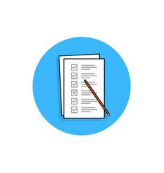 Checklist task or quiz blue round icon vector