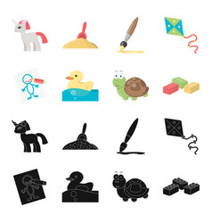 Children toy blackcartoon icons in set collection vector