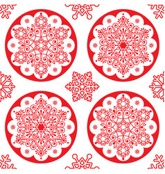 Christmas folk pattern - red snowflake vector
