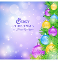 Christmas tree with colored balls vector image