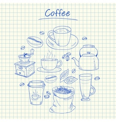coffee doodles squared paper vector image
