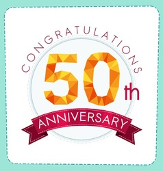 Colorful polygonal anniversary logo 3 050 vector