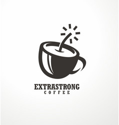Creative logo design idea for extra strong coffee vector