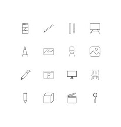 creative process and design linear thin icons set vector image
