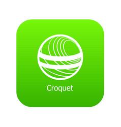 croquet icon green vector image