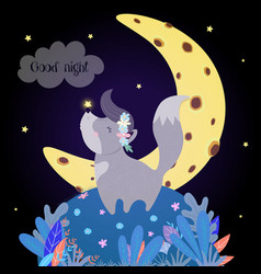 Cute wolf howling at moon funny bawolfling vector