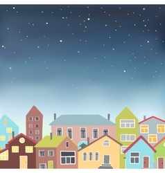 Different houses on the starry sky background vector
