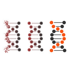 Dispersed pixel halftone dna molecule icon vector