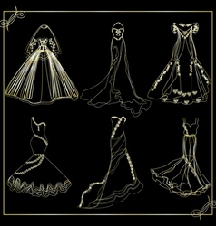 Dresses outline collection of wedding vector