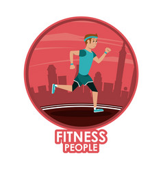 fitness man running vector image