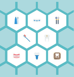 Flat icons equipment radiology implantation and vector