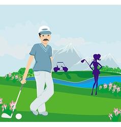 Golfers on a sunny day vector