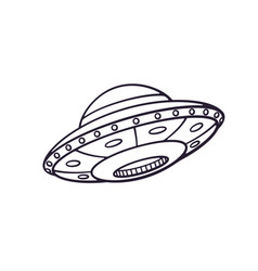 hand drawn doodle toy ufo space ship vector image