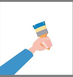 hand holds brush tool vector image