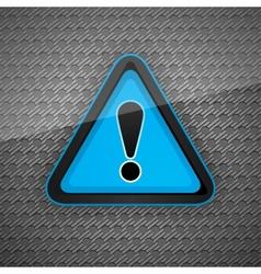 Hazard warning attention symbol on a dark gray met vector