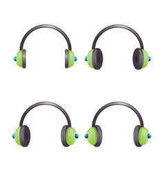 headphones music listen cartoon icon vector image