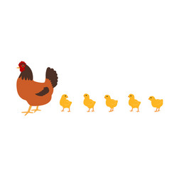 hen with chickens white background isolated vector image