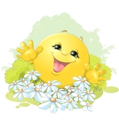 Hilarious bun on a background of flowers vector