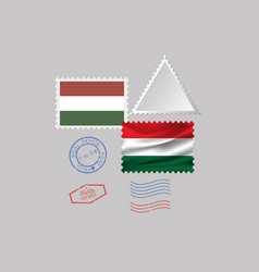 Hungary flag postage stamp set isolated on gray vector