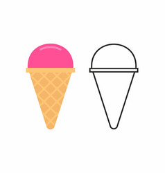 Ice cream in waffle cone vector