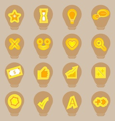 Idea symbol icons sticker on light bulb shape vector image