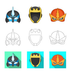 Isolated object of hero and mask icon collection vector