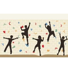 Kids climbing wall vector image