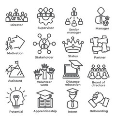 leadership line icons on white background vector image